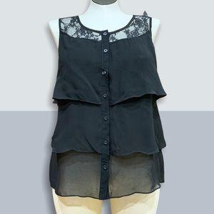 🍭🍭Romy sleeveless black chiffon & lace top Sz XL